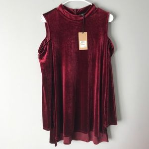 NWT Halogen wine velvet cold shoulder tunic dress